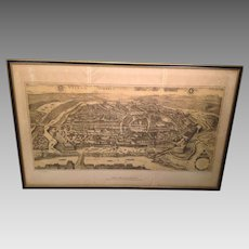 Vienna Austria 1609 Map Reproduction in Frame 3 Separate Pieces Jacob Hoefnagel Nicolaus Ioannis
