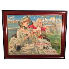 A Lord and His Lady Mantovani Venezia Painted Poster Early 1900s Artist - F. Bresgarini