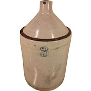 Antique 3 Gallon Stoneware Pottery Jug with Handle