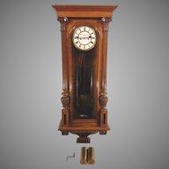 Antique W Schonberger Wien Vienna Regulator Clock 2 Weights Great Pendulum Runs Strikes Great Wood Case
