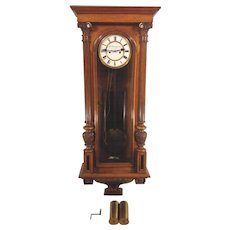 Antique W Schonberger Wien Vienna Regulator Clock 2 Weights Great Pendulum Runs Strikes Great Wood Case