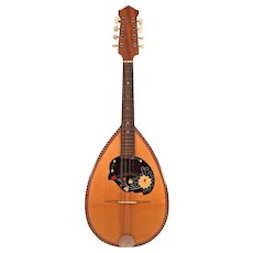 Antique Large Bowlback Mandolin 8 Strings  No Label Great Inlay  Beautifully Designed Piece Around Sound Hole
