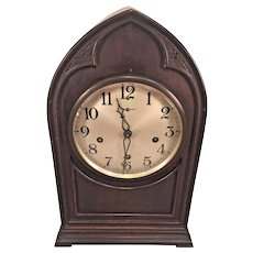 Antique New Haven Westminster Chime Clock Runs & Strikes Mahogany Steeple/Cathedral Clock Case