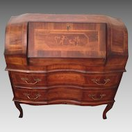 Vintage French Empire Bureau Desk with 2 Drawers Wood Inlay Hunting and Animal Scenes Louis XV Style