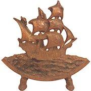 Antique Cast Iron Ship Door Stop Columbus' Ship No Makers Mark