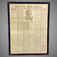 Framed April 1865 NY Herald Newspaper of Lincoln Assassination Reproduction Front and Back Show