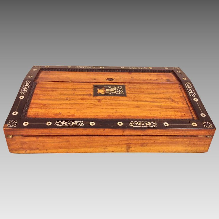 Antique Asian Inlaid Lap Desk with Old Lock No Key - Antique Asian Inlaid Lap Desk With Old Lock No Key
