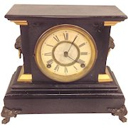 Antique Ansonia Iron and Slate Shelf Clock with Pendulum Not Running