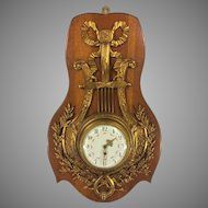 Antique Bronze Wall Clock Wood Plaque Enamel Painted Face Time Only France Running