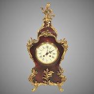 Vincente & Cie Louis XV Style Mantel Clock Faux Tortoise Shell Case Gold Gilt Trim Runs & Strikes