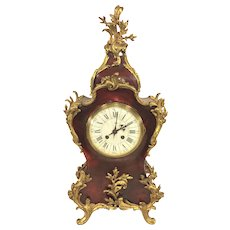 Vincente & Cie Louis XV Style Mantel Clock Faux Tortoise Shell Case Gold Gilt Trim Runs & Strikes