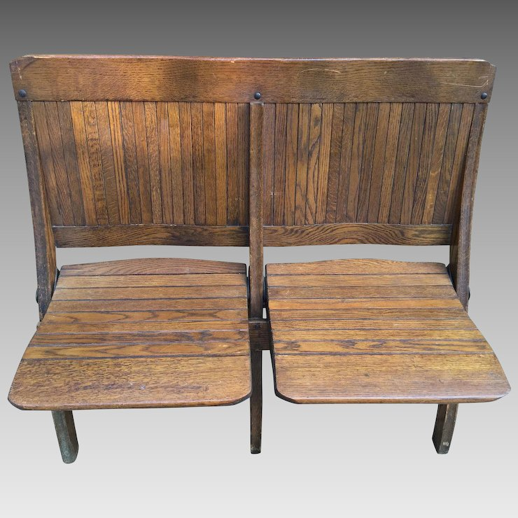 Antique Oak 2 Seater Folding Bench Brunswick Seating Lawrenceville ...