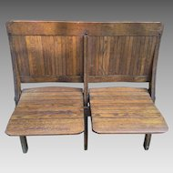 Antique Oak 2 Seater Folding Bench Brunswick Seating Lawrenceville VA
