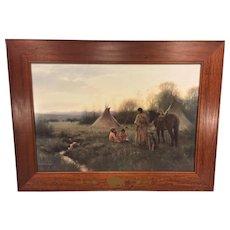 Vtg American Indian Scene Print Indian Woman w/ Children w/ Beautiful Wood Frame