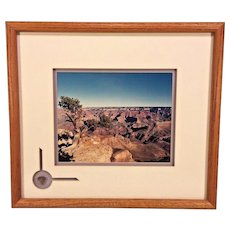 Vtg J Beul Framed Photo Print of Grand Canyon w/ Stone Specimen