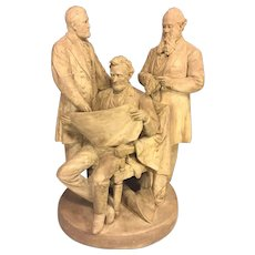 Vtg John Rogers Groups Statue The Council of War 1868 Cast Plaster Lincoln Grant and Stanton The Rogers Groups Cast Plaster