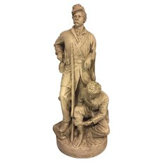 John Rogers Groups Statue Wounded to the Rear One More Shot 1864 Civil War Union Piece Cast Plaster