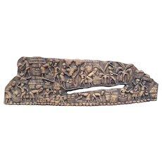 Vintage Wood Carving Art Piece on Wood Board Signed by Wilfrid Virgile