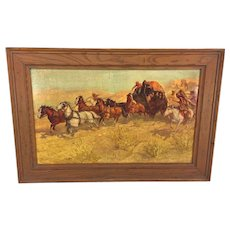 """Vintage Oscar Berninghaus Western Print Reproduced by Anheuser Busch in Frame Stagecoach Attacked by Indians Titled """"A Fight for the Overland Mail"""""""