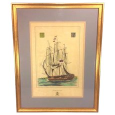"Antique Ship Lithograph entitled ""Isle of Man"" Hand Colored Framed and Matted"