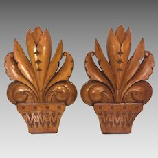 Vintage Pair of Wood Fleur De Lis Finials Sconces Architectural Pieces
