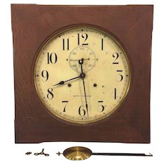 Vintage Seth Thomas Office No 11 Wall Clock Oak Case Not Running w/ Pendulum