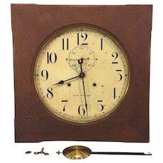 Vintage Seth Thomas Office No 11 Wall Clock Oak Case Not Running w/ Pendulum
