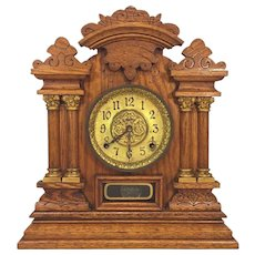 Antique Ingraham Cabinet No 7 Victorian Mantel Clock Running & Striking  Columns and Incising