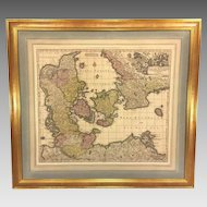 """Antique Map of the Kingdom of Denmark Titled """"Dantae Regnum"""" by Georg Matthaus Seutter for his Royal Highness Georg Augustus Fredrick 1736"""