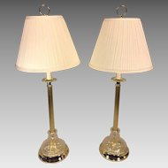 Pair of Glass & Brass Toned Table Lamps Pleated Shades Medallion Lighting Corp Work