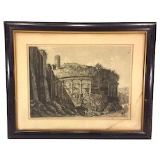 Antique Luigi Rossini Etching Veduta dell'Avanzo dell'Anfiteatro Castgrense Framed & Matted