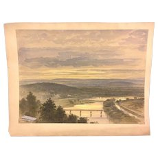 Antique Ferdinand Moras Watercolor River & Steam Beautiful Sky Bridge & Steam Train 1800s