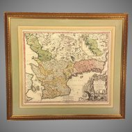 Antique Map of Sweden Johann Baptist Homann Engraving Nova Tabula Scaniae Quae est Gothia Australis Provincias Scaniam, Hallandiam, et Blekingiam