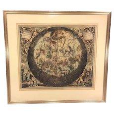 "Antique Astronomy  Celestial Lithograph, ""Hamisphari Umborale Hamisphario""  Antique Restrike Astronomy Lithograph 1708"
