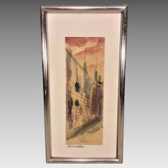Vintage Watercolor Entitled Jerusalem Signed Nice Coloring & Details Framed