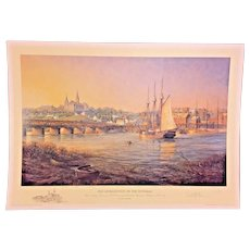 Paul McGehee Artist Proof Old Georgetown on the Potomac w/ Remarque of Georgetown University 1986