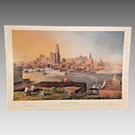 Paul McGehee Artist Proof Old Baltimore Harbor w/ Best Wishes Remarque 1988 Shows a View of Baltimore Harbor as of 1930