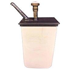 Vintage Vanilla Syrup Dispenser for Soda Shop or General Store Plunger Operates