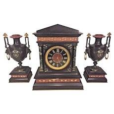 Antique French Clock and Garniture Set Slate and Marble Great Incising Designs Running  & Striking Retailed by A Stowell of Boston
