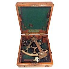 Vintage Huson Sextant in Nice Wood Case H Hughes & Son London Made for Kelvin Wilfrid White Co of Boston Serial # 41660