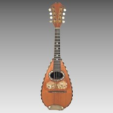 Vintage Bowlback Mandolin Globe Brand Orphane Model  8 Strings Elegant Incised Tuner Box No Case  Beautifully Designed Butterfly Piece Around Sound Hole