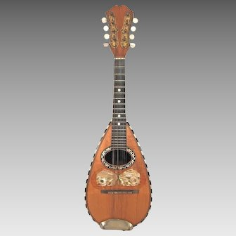 Vintage Bowlback Mandolin Globe Brand Orphane Model  8 Strings Elegant Incised Tuner Box No Case  Beautifully Designed Butterfly Piece Around Sound Hole