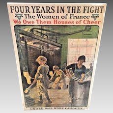 World War I Lithograph Four Years in the Fight 1918 The Women of France YWCA  Jonas Lucien - Artist Unframed Quite Intact
