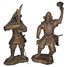 Nice pair of Vintage Bronze Asian Warriors with their Weapons, might be Ninja Warriors, for your decor needs. See item description and pics below.