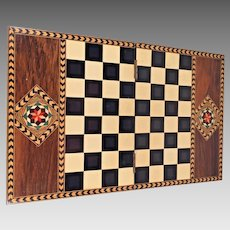 Vintage Marquetry Folding Chess Board Disguised as a Decorative Box