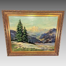 Antique Pierre Millet Oil Painting Landscape with Lake an Mountain in Background