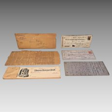 Collection of Mid to Latter 1800s Baltimore Paper Ephemera Newspapers Indenture Checks