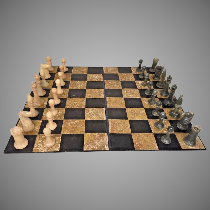 Vintage Boxed Stone Classical Medieval Chess Set Cream And Gray Green :  TimelessTokensDE | Ruby Lane