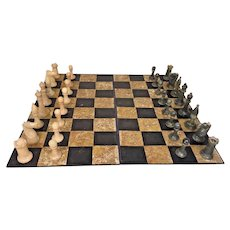 Vintage Boxed Stone Classical Medieval Chess Set Cream and Gray-Green Carved Stone Pieces w/Board