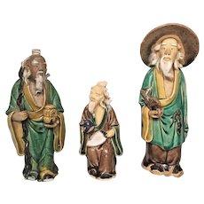 Vintage Asian 3 Clay Mud Men 1 w/ Coolie Hat